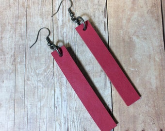 Joanna Gaines inspired leather earrings, pink leather dangle earrings, pink (chunky) leather earrings