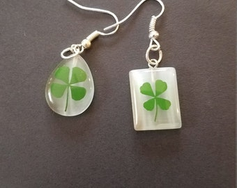 Lucky Clover Mismatched Dangle Earrings