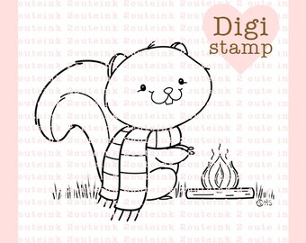 Bonfire Squirrel Digital Stamp - Fall Stamp - Digital Fall Stamp - Squirrel Art - Squirrel Card Supply - Fall Craft Supply