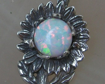 Sunflower Pendant With Opal And Sterling Silver