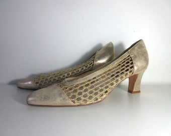 Vintage Woven Mid heel Court Shoes
