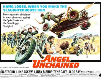 1970 Angel Unchained vintage motorcycle movie poster print