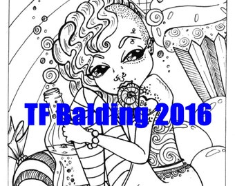 Sodapop Sugar Shock Sweetie original art coloring page pdf instant download