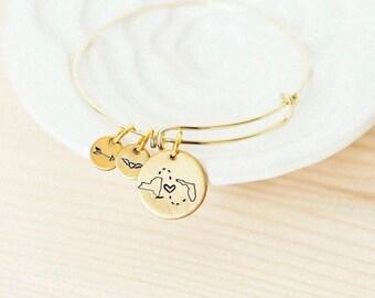 Long Distance Relationship Bangle Bracelet GOLD - Choose Your States -State Bracelet girlfriend gift