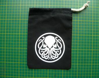 Cthulhu Dice Bag Cthulhu Hydra Dice Bag, Glow in the dark Cthulhu Card bag, Tarot bag, drawstring bag, small, 100% cotton.
