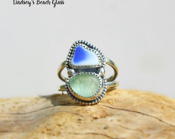 Hawaiian Beach Pottery & Aqua Beach Glass Set in Sterling Silver Handcrafted Ring - Size 7