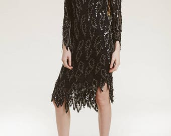 vtg art deco beaded dress / draped leaf motif / sheer delicate silk