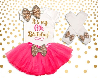 6th Birthday Outfit Girl Pink and Gold 6th Birthday Tutu Set Birthday Girl Outfit 6th Birthday Outfit Birthday Tutu Set