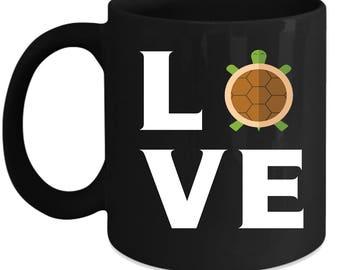 Turtle LOVE Turtle Animal lover Gift, Christmas, Birthday Present Black Mug