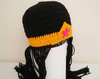 Wonder woman wig hat, wonder woman crochet hat,superhero costume, wonder woman costume, baby photo props,girl hero, justice league costume