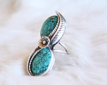 Double Hubei Turquoise Ring Size 8.25