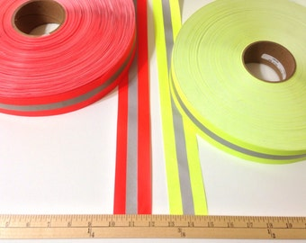 3 Yards of Reflective 2 Inch Tape, Fluorescent Yellow-Lime or Day Glo Orange with Silver Stripe