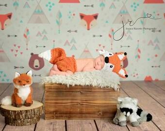 Newborns photography backdrops, cartoon fox bear pattern photobooth background for studio photography,birthday decor seamless backdropD-9329