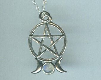 Sterling TRIPLE MOON PENTACLE with Genuine Moonstone Pendant and Chain