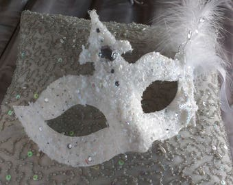 Snow queen mask, ladies masquerade mask, masked ball mask, party mask, dress up, snow princess masks, ice queen mask, winter, snow flakes