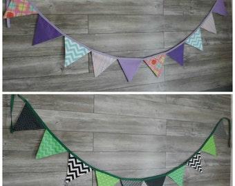 Custom Garland Fabric, Fabric Banner Bunting, Pennant Flags wedding, smash the cake, birthday, nursery decor, photo prop, shower