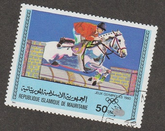 Jumping Horse Stamp Summer Olympics 1980 Miniature Equine Art