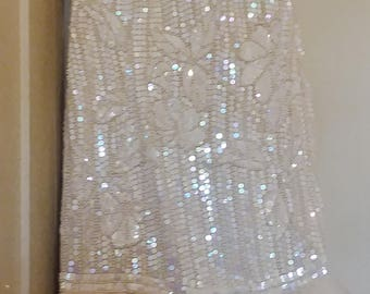 Vintage sequin and beaded fish style wedding dress light ivory tulle layered tail