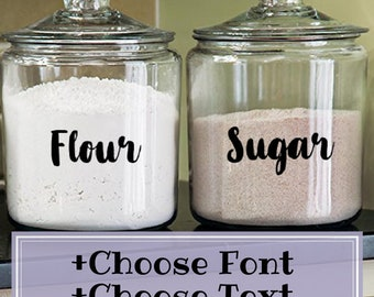 Pantry Labels (Customizable) - Canister Labels - Custom Kitchen Labels - Farmhouse Food Labels, Custom Pantry Decals