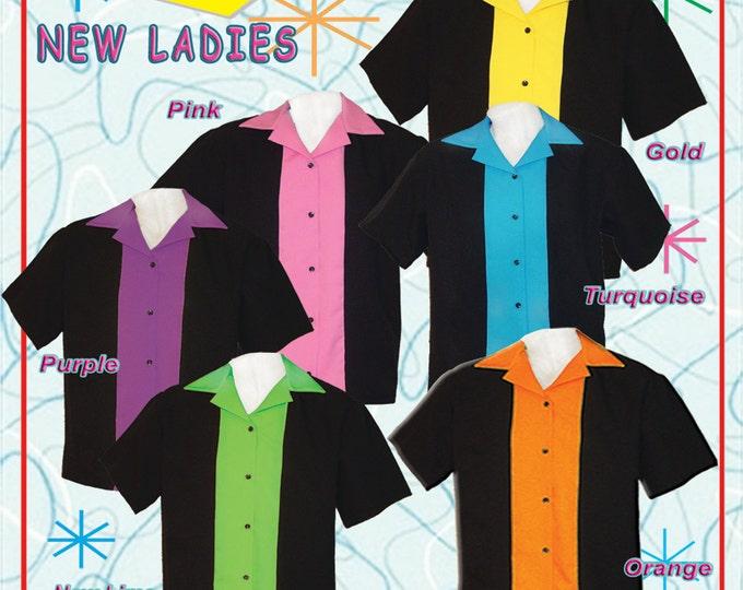 Women's Ladies Bowling Shirt - Ladies Retro Style Bowling Shirts - Free Shipping