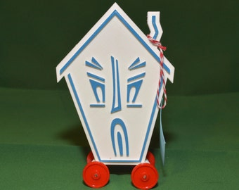 Haunted House Logo Vintage Style Toy on Wheels 3D Printed Plastic Holiday Christmas White Blue