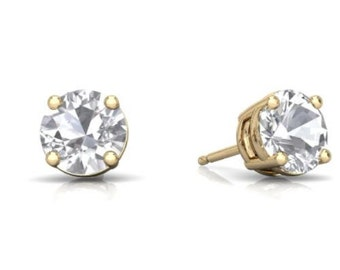 14Kt Yellow Gold White Sapphire Round Stud Earrings
