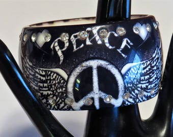Vintage Chunky Bangle Peace Wings Rhinestone Bracelet