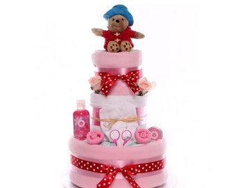 Paddington Bear Baby Girl Nappy Cake, Nappy Cake Baby Girl, Nappy Cake Gift Idea, Nappy Cake Maternity Leave, Nappy Cake Baby Shower