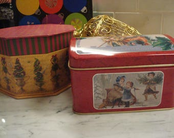 Vintage A Happy Christmastide Hinged Tin - Reproduction - Circa Early 1990's