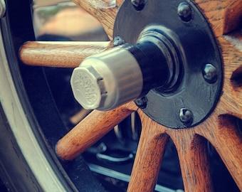 Wooden Wheels - Rustic Wall Art - Car Art Prints -  Retro Print - Vintage Car Photography - Garage Art - 8x10