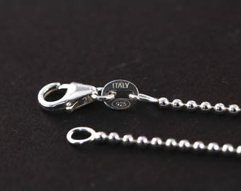 Sterling Silver Ball Chain Necklace 1.5mm , Bead Chain Necklaces with Lobster Closure , 18 20 22 inches