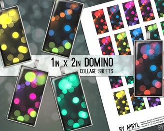 Domino Digital Collage Sheet Bokeh 1 x 2 Images for Glass and Resin Pendants Magnets Paper Craft JPG D0008