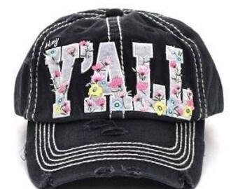 Floral Hey Y'all Distressed Trucker Hat - Black