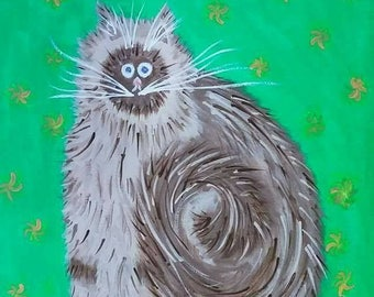 Fluffy Brown Cat Canvas