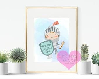 Dream big little one knight  nursery print , nursery decor , A4 print new baby wall art