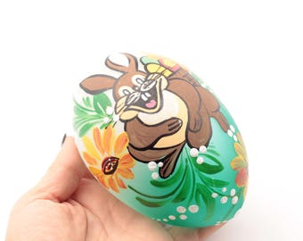 Czech hand blown hand painted bunny glass egg Easter ornament bauble decoration SKU 450