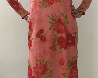 Georgette Long Floral Kurta, Long Indian Kurta/Tunic