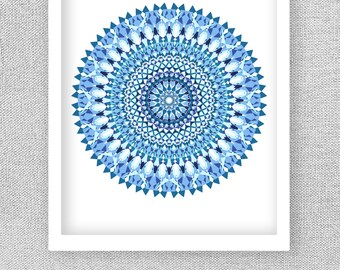 Mandala Art, Printable Art, Mandala Print, Blue Wall Art, Blue Art Print, Bedroom Art, Living Room Art, Printable Wall Decor, Bedroom Decor