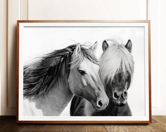 Horse print, PRINTABLE art, Horse photography, Black and white wall art, Art prints, Large wall art, Horse art, Horse decor, Contemporary