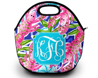 Lilly Pulitzer Inspired Lunch Bag |  Monogram Lunch Bag for Women |  Monogrammed Gift | Lunch Bag for Women