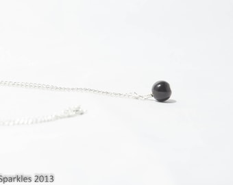 Black Pearl Necklace, Single Pearl Necklace