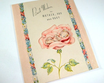 Vintage Card, Best Wishes To Mother, Dad and Baby, Mid Century New Baby Greeting Card (388-12)