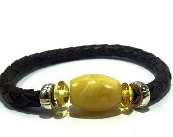 Baltic Amber Leather Bracelet Natural Resin Minimalist BOHO