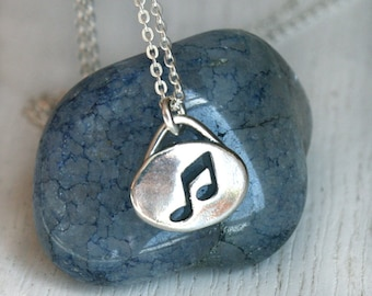 Sterling Silver Music Note Necklace, Music Necklace