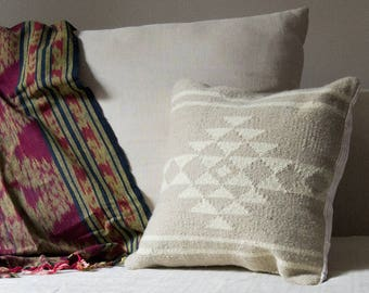 Neutral Sahara handmade kilim cushion cover boho bohemian throw pillow white grey linen southwestern flatwoven textile ethical sustainable