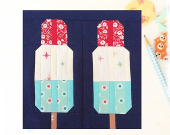 Popsicles Quilt Block PDF Instant Download Quilt Pattern 6 inch and 12 inch block instructions