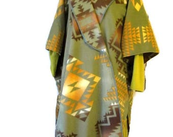 Poncho, Native American Style Olive Shawl Cape Women's Nursing Poncho Vintage Print Southwestern Western Gift For Her Handmade Blanket Scarf