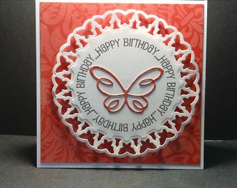 Embossed Butterfly Birthday Card - Circular Butterfly Die Cut - Embossed Happy Birthday Card - Butterfly Card - Embossed Card