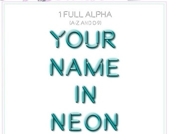 ALPHA Your Name In Neon - Digital Scrapbooking - Neon Alpha - Blue Alpha - Instant Download
