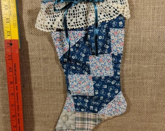 Vintage feed sack quilted Christmas stocking